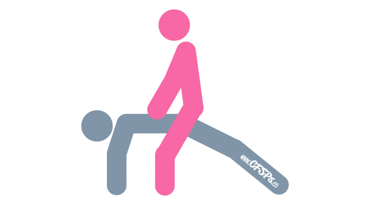 An illustration of the Bridge sex position. This picture demonstrates how Bridge is a woman-on-top sex position with deep penetration and great depth control.