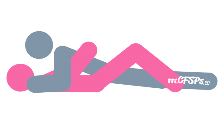 An illustration of the Missionary sex position. This picture demonstrates how Missionary is an intimate, man-on-top sex position with deep penetration.