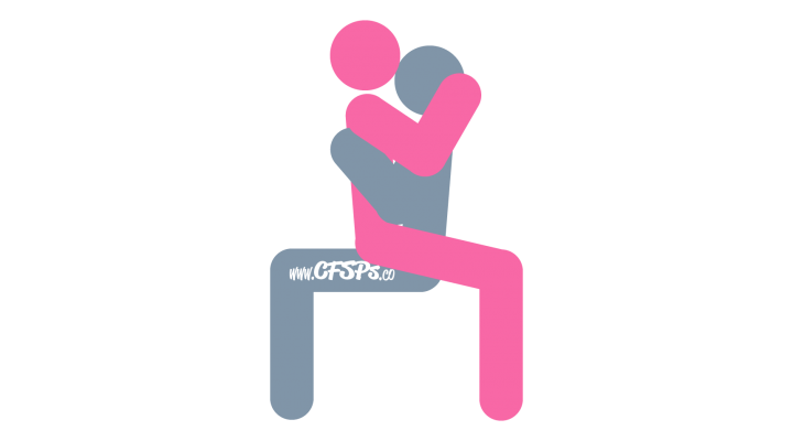 An illustration of the Amazon sex position. This picture demonstrates how Amazon is an intimate, seated sex position that's enjoyed on an armless chair.