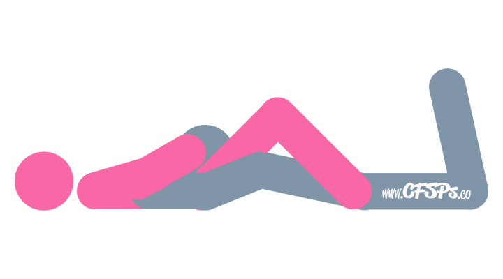 An illustration of the Spread Eagle sex position. This picture demonstrates how Spread Eagle is the most practical and comfortable oral sex position for giving and receiving cunnilingus.