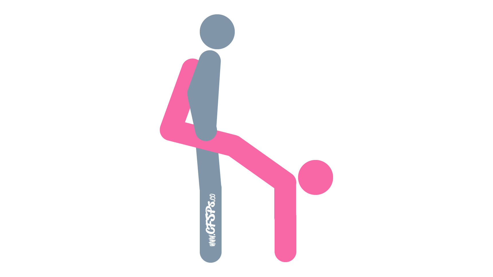An illustration of the Indian Headstand sex position. This picture demonstrates how Indian Headstand is a difficult, standing sex position with deep penetration and great g-spot stimulation.