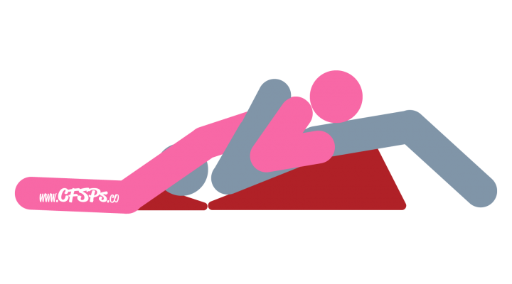 Bridge: Woman-On-Top Oral Sex Position Illustration Using a Sex Pillow