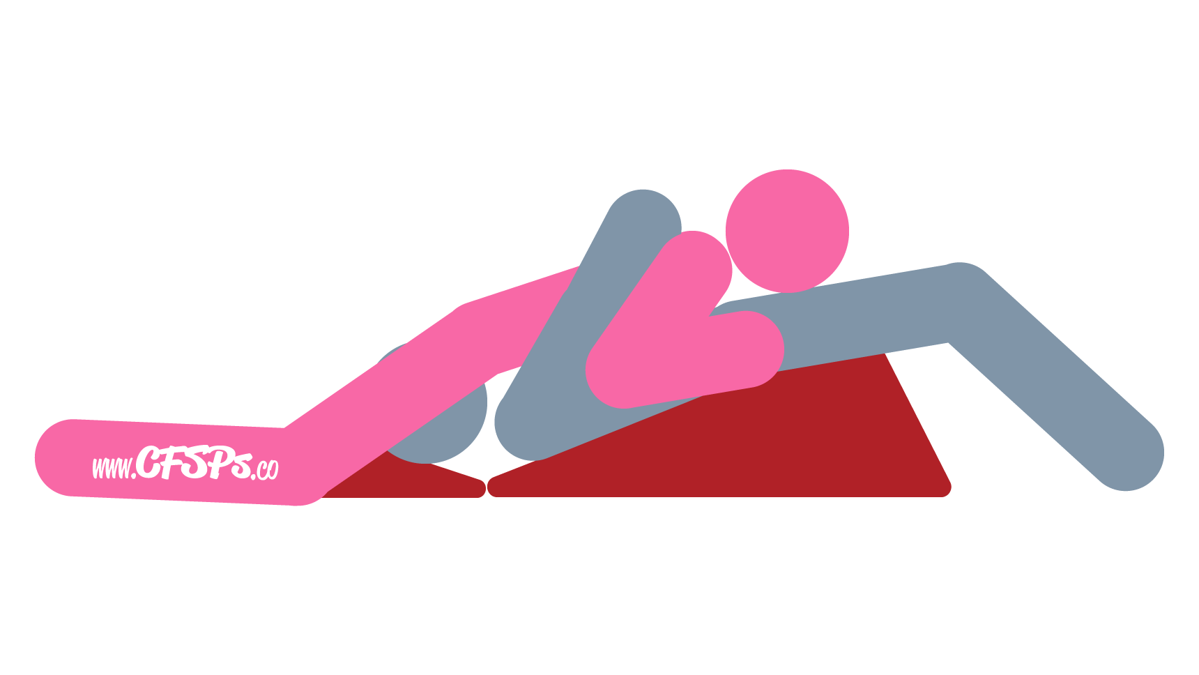 An illustration of the Bridge 2 sex position. This picture demonstrates how Bridge is a simultaneous fellatio and cunnilingus oral sex position that's enjoyed using a Liberator Wedge/Ramp combo.