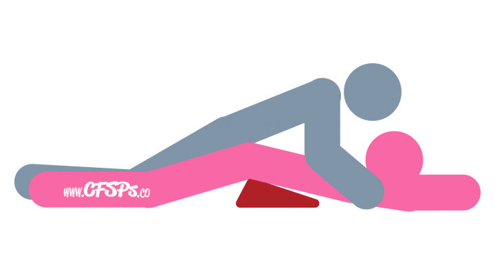 Down Low: Man-On-Top, Rear-Entry Sex Position Illustration Using a Sex Pillow