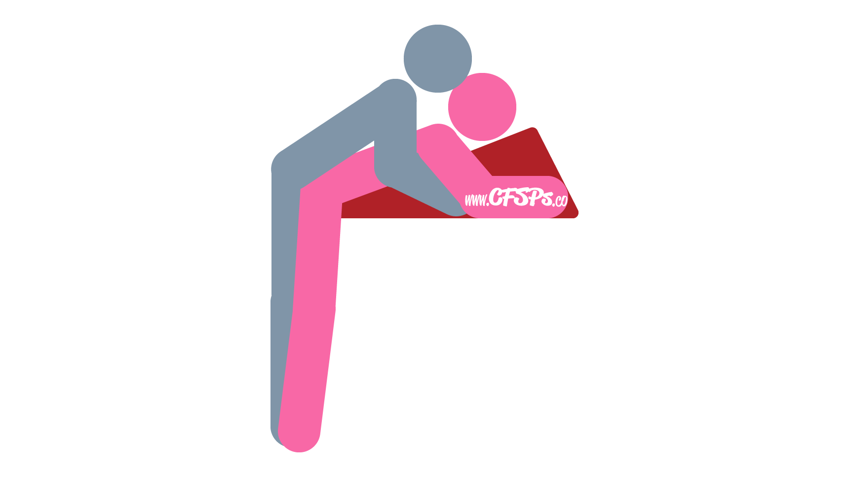 An illustration of the High Rise sex position. This picture demonstrates how High Rise is a standing, rear-entry sex position with g-spot stimulation that's enjoyed on the edge of the bed on a Liberator Ramp sex pillow.