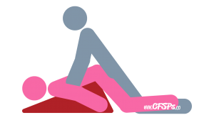 Pedestal: Kneeling, Rear-Entry Sex Position Illustration Using a Sex Pillow