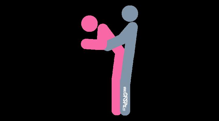 Restaurant Attendant: Standing, Rear-Entry Sex Position Illustration