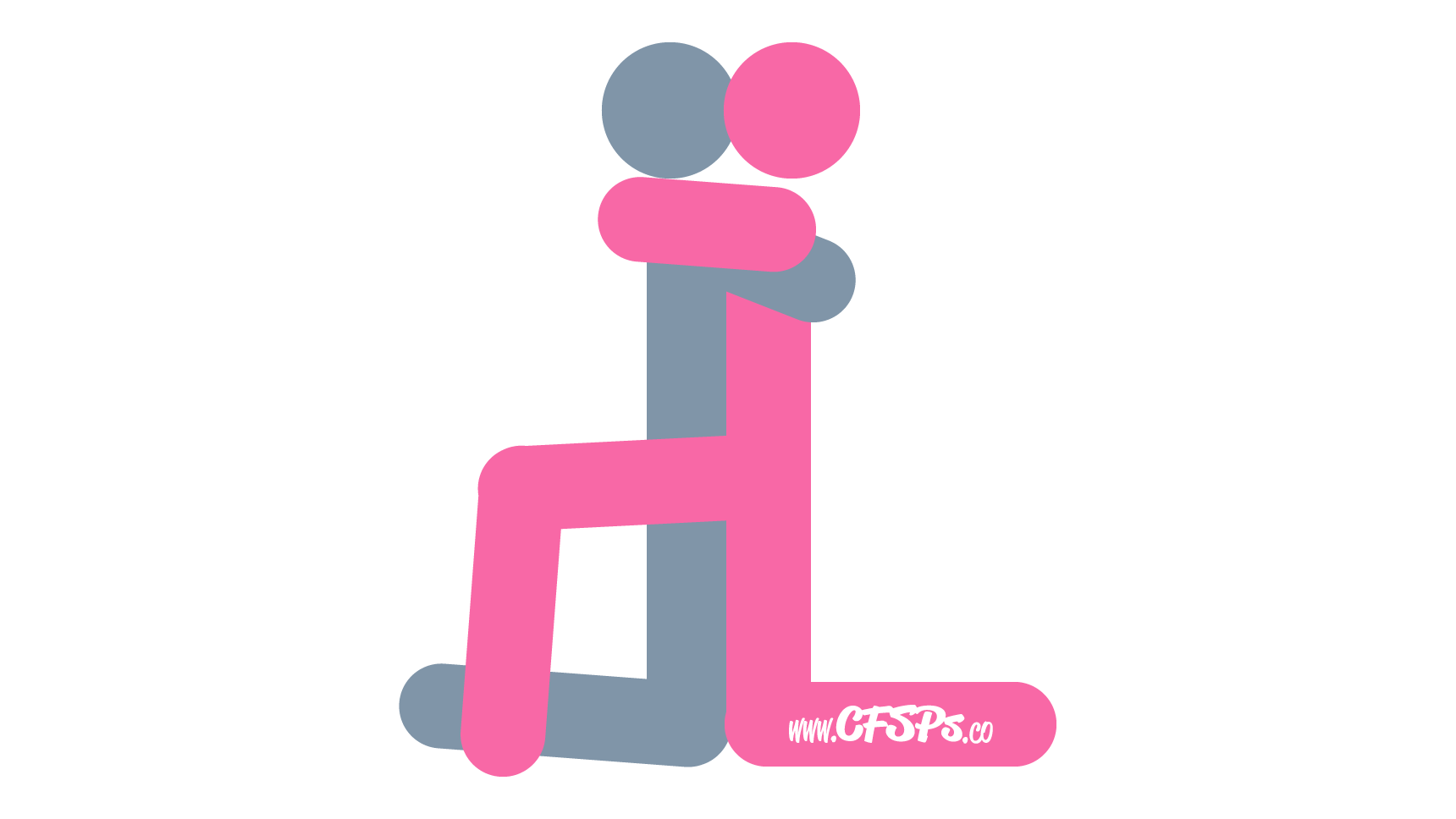 An illustration of the Long Goodbye sex position. This picture demonstrates how Long Goodbye is an intimate, kneeling sex position.