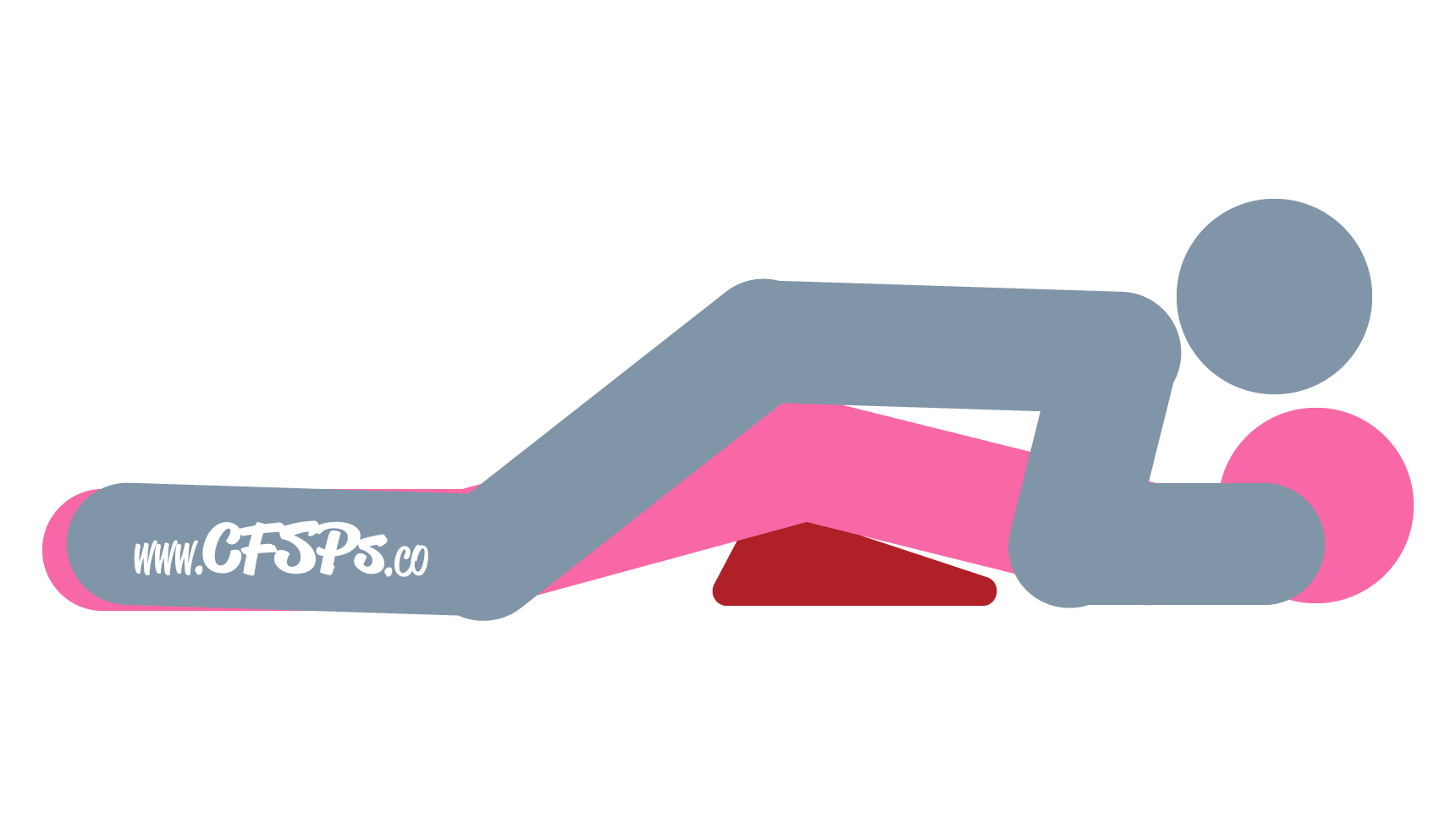 An illustration of the Flatiron sex position. This picture demonstrates how Flatiron is a rear-entry sex position with outstanding g-spot stimulation and deep penetration enjoyed using a Liberator Wedge.