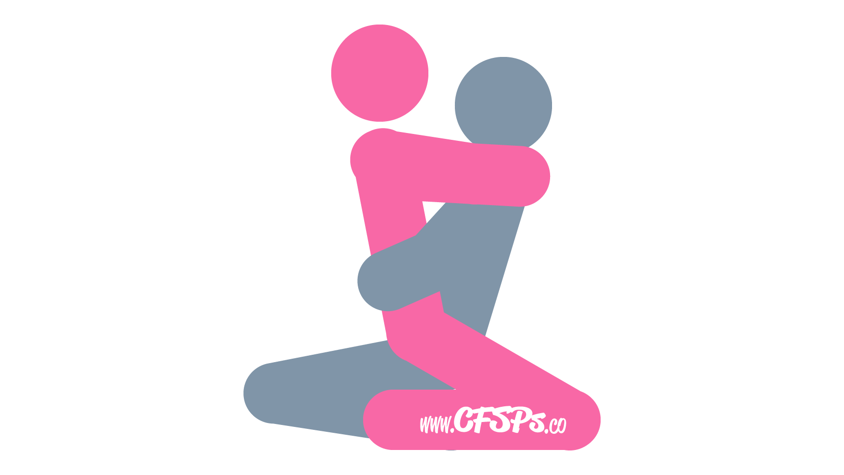 An illustration of the Oh, My! sex position. This picture demonstrates how Oh, My! is an intimate, kneeling sex position with depth control for the woman.