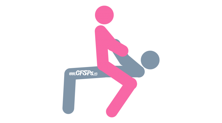 An illustration of the Hobbyhorse sex position. This picture demonstrates how Hobbyhorse is a woman-on-top sex position with deep penetration and great clitoral stimulation that's enjoyed in a rocking chair.