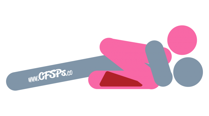 An illustration of the Divine Lift sex position. This picture demonstrates how Divine Lift is a woman-on-top sex position that uses a Liberator Wedge to allow deep penetration and clitoral stimulation.