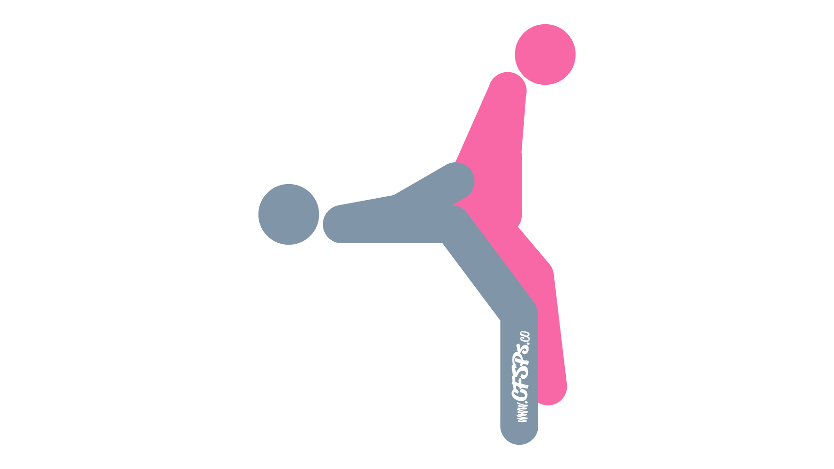 An illustration of the I'll Be Back sex position. This picture demonstrates how I'll Be Back is a rear-entry sex position with good g-spot stimulation that's enjoyed using a table and stool.