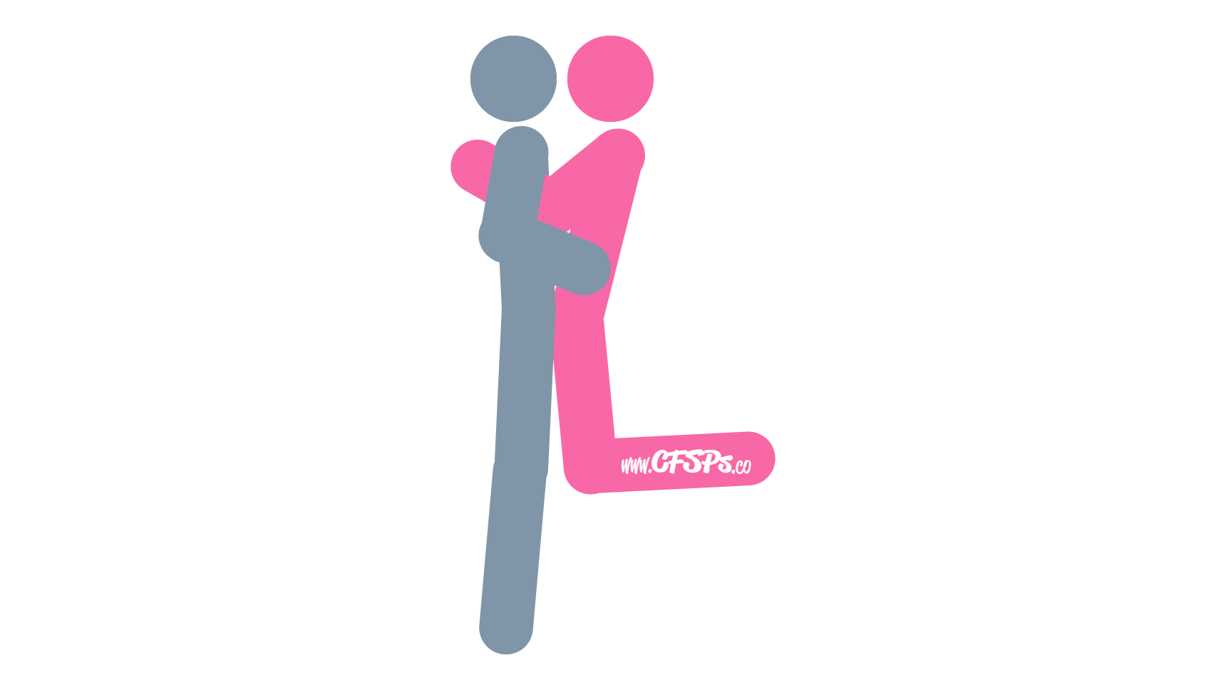 An illustration of the Dublin Shuffle sex position. This picture demonstrates how Dublin Shuffle is an intimate, kneeling sex position enjoyed using the edge of a bed or couch.