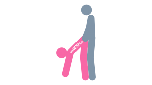 Ben Dover: Standing, Rear-Entry Sex Position Illustration