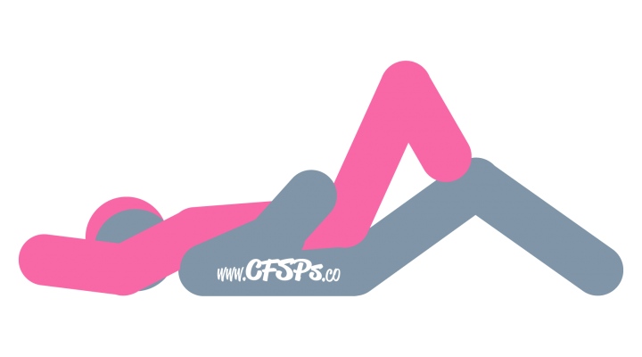 An illustration of the Bent Spoon sex position. This picture demonstrates how Bent Spoon is a woman-on-top, rear-entry sex position with access for manual clitoral stimulation and has good g-spot stimulation.