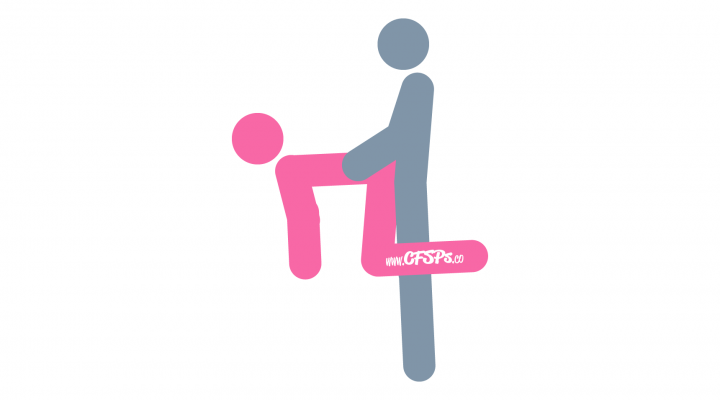 An illustration of the Plinth sex position. This picture demonstrates how Plinth is a rear-entry, standing sex position with deep penetration and good g-spot stimulation that's enjoyed with the woman on an ottoman, leg rest, couch, or recliner.