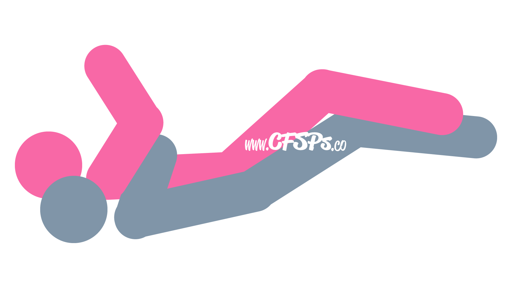 An illustration of the Spooning sex position. This picture demonstrates how Spoon is a very comfortable, rear-entry sex position with g-spot stimulation and access for manual clitoral stimulation.