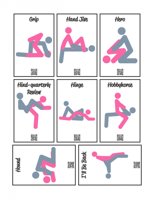 Example Sheet of Sex Position Cards