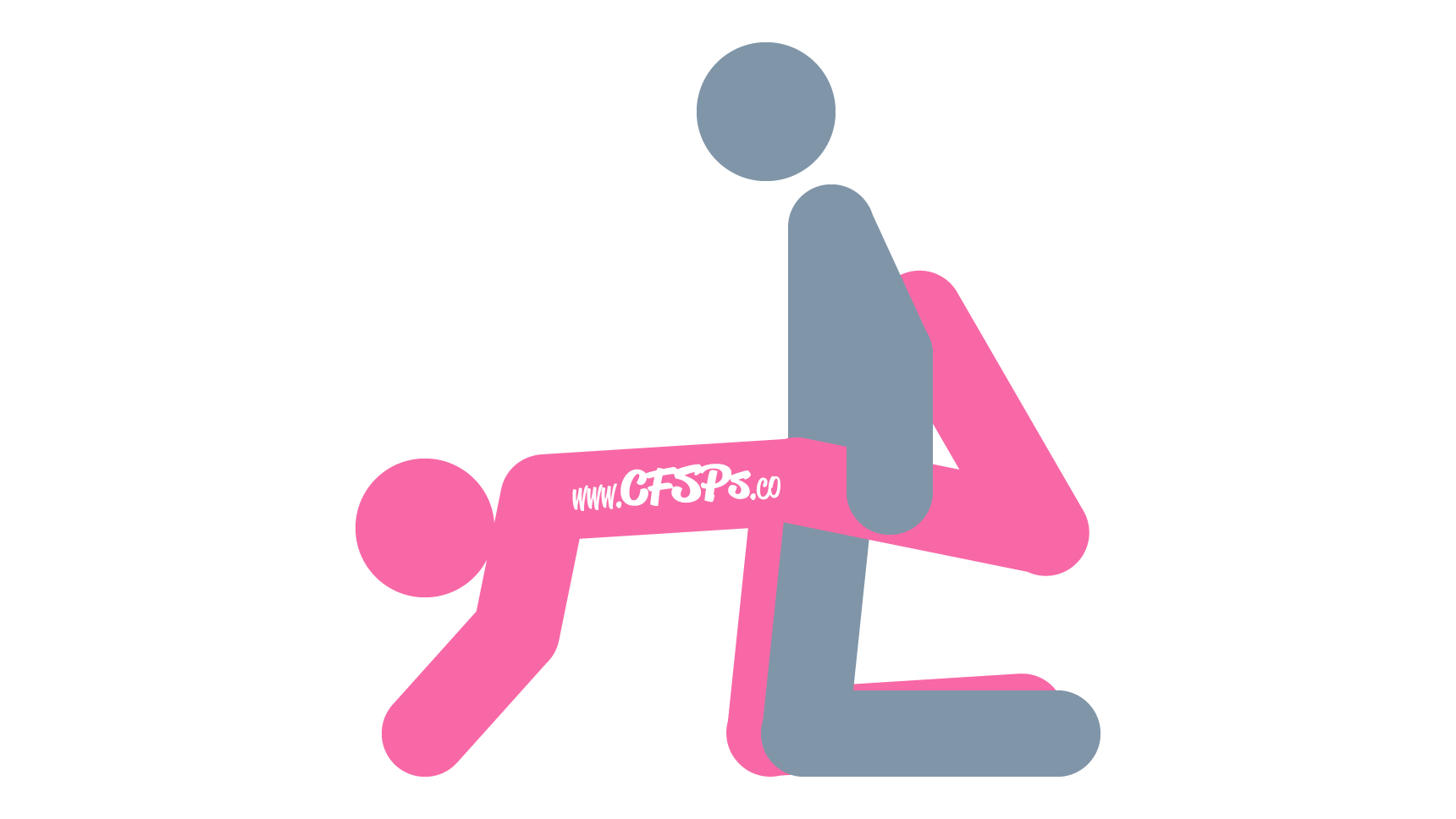 An illustration of the Ice Sculpture Sex Position. This sex picture demonstrates how Ice Sculpture is a kneeling, rear-entry sex position that creates a tight fit during sex. It's basically doggy style with a tight fit.